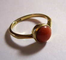 Antique English Edwardian 18k Gold Coral Ring 1902