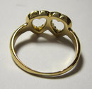 Antique English Victorian 15k Gold & Diamond Double Heart Ring 1890