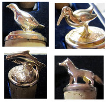 6 x  Garrard's Silver Animal & Bird Wine Bottle Stoppers in Fitted Case 1997