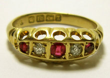 Antique English Victorian 5 stone Ruby & Diamond 18k Gold Ring. 1899