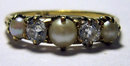 Vintage Pearl & Diamond 18k Gold Dress Ring 1928