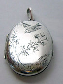 Antique English Victorian Silver Aesthetic Locket 1880