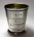Antique English Victorian Silver Telescopic Cup with Case 1873
