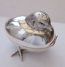 Rare Antique English Silver Chick and Egg Pepper Shaker 1901