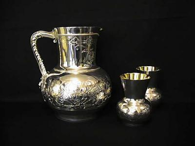 Silver Jug and Beakers