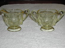 Lancaster-Jubilee- Glass Sugar and Creamer