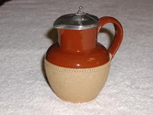 English Stoneware Pitcher with S/P Lid