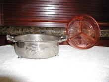Depression Glass divided serving dish