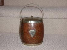 English S/P Oak Biscuit Barrel