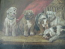 Antique Oil Painting of Puppies At Play