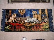 Antique Pictorial/Sleigh Cat Rug