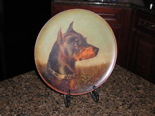 English 19th Century Oil Painted Dog Plaque