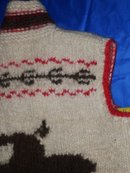 Vintage 1960's  style of Cowichan Indian Sweater  Hand Carded Sheeps Wool + Hand Knitted  Native American Indian VEST __Rare Find_ One-of-a-Kind. Excellent Condition_ image