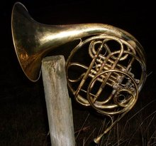 Antique Compensating Double FRENCH HORN_ Stamped Kruspe , Erfurt _ Solid Brass_ Late 19th Century_made in Germany__ with Wood construction Locking Case