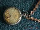 A really nice + WORKING 8 Day HEBDOMAS Pocket Watch pocketwatch + Case+ Ornate Gold Watch CHAIN + gold locket