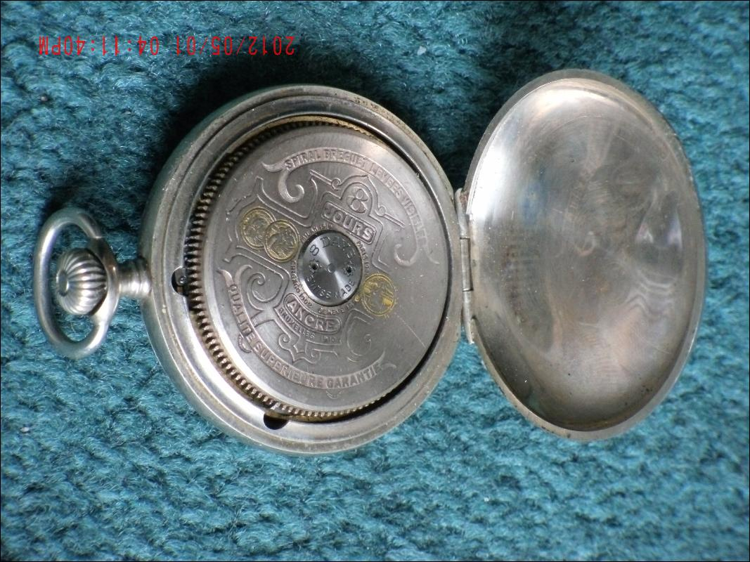 Excellent WORKING 8 Day HEBDOMAS Pocket Watch SILVER pocketwatch + Case+ GOLD Ornate CHAIN + GOLD locket