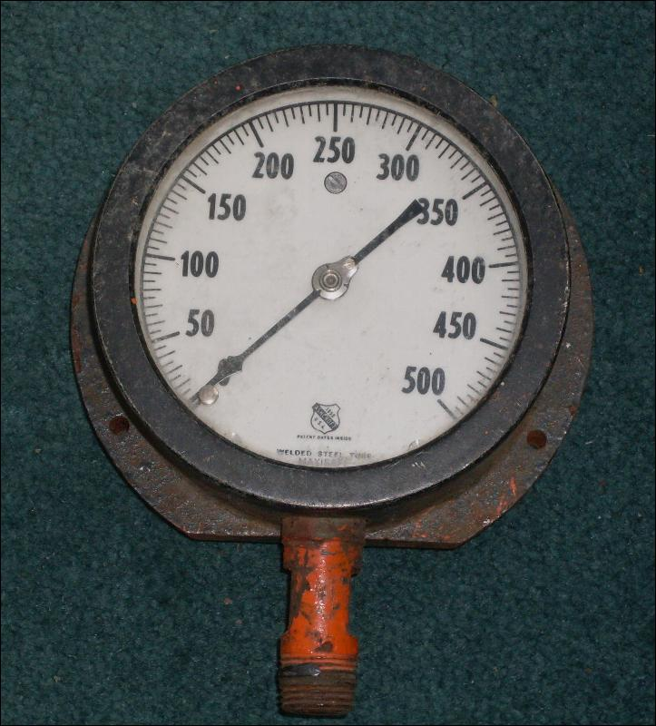 Vintage INDUSTRIAL pressure gauge _stamped: Ashford 1850 _Steampunk look_ 500psi_decorative use