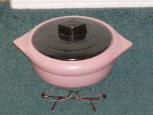 PINK with Black Lid CALIFORNIA POTTERY casserole dish or Candy dish