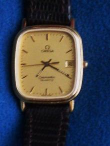 vintage Mens OMEGA Seamaster Watch _the Early Slim-Line model_ wristwatch_ Date feature_ GOLD filled__Bonus BRAND NEW HIRSCH Genuine Leather Strap Included_perfect working order_Shipping to U.S.A $19.99
