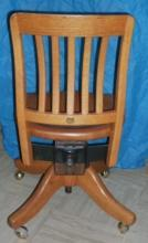 World Famous KRUG Furniture Co. 1/4 Cut or Tigers Eye SOLID OAK Swivel STENO MISSION Office Chair. Beautiful Original Condition