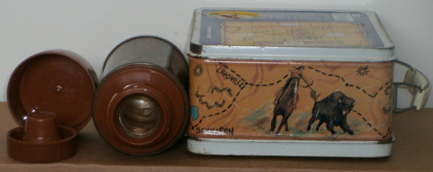 WILD FRONTIER Go West Metal Lunch Box OHIO ART USA + Thermos