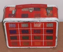 OHIO ART Plaid  Woven Pattern Yellow Green Blue on RED Metal Lunch Box  USA