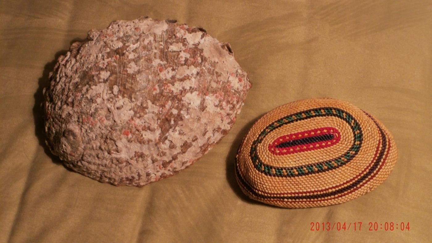 North American Native ART Very Finely Woven BASKETRY over Abalone Shell_ Lucy Paviao Kluky _ Nootka tribe + LARGE Abolone Shell