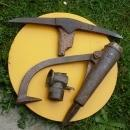 Miners Mining Artifacts Tools  Peavey + Pick + Justrite Cap Lamp