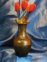 1900 Chinese SOLID Brass / Bronze VASE _ 8 Inch High_ HEAVY CAST Brass / Bronze