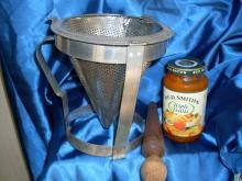 c.1920 SIEVE / STRAINER Kitchen Canning w/Holder & Wooden Rolling Pin + RED Tupperware Label Dispenser