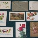LOT of 9 WW1 SILK EMBROIDERED + Postcards + CENSORED Envelope + FIELD POST CANCEL MARK + Stamps c 1915-17 JACK CDN Soldier