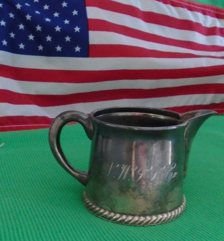 USA HISTORICAL ARTIFACT _ N.W.S.S. NORTH WESTERN STEAM SHIP Co. _ Silver Creamer _Circa 1894