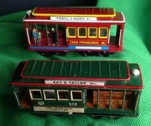 1950s PRESSED TIN metal FRICTION TOY CABLE CAR San Francisco  #512 Japan  AND vintage #28 Cable Car San Francisco