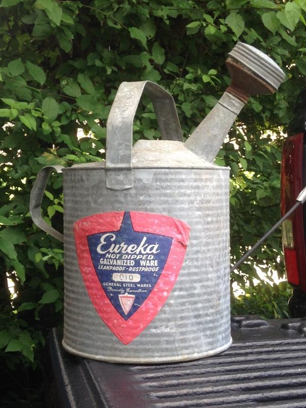 ITS THE PAPER ADVERTISING LABEL that is INTACT...Galvanized Water Can Collectible_ NO DAMAGE to Watering Can