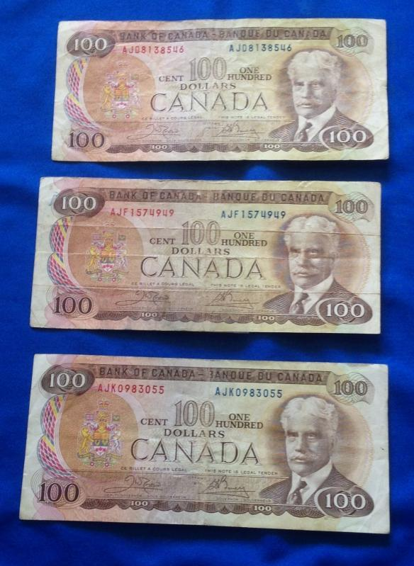 (3)1975 CANADA $100. Dollar Bills (7)1988 CANADA $100_ Circulated_ Prefix vary_ THIESSEN + CROW_ KNIGHT + THIESSEN_CROW+BOUEY