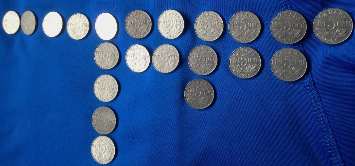 1923 - 1936 AU CANADA NICKEL 5 CENT COIN CANADIAN _LOT of 21 100% PURE NICKEL COINS_ from ESTATE COLLECTION