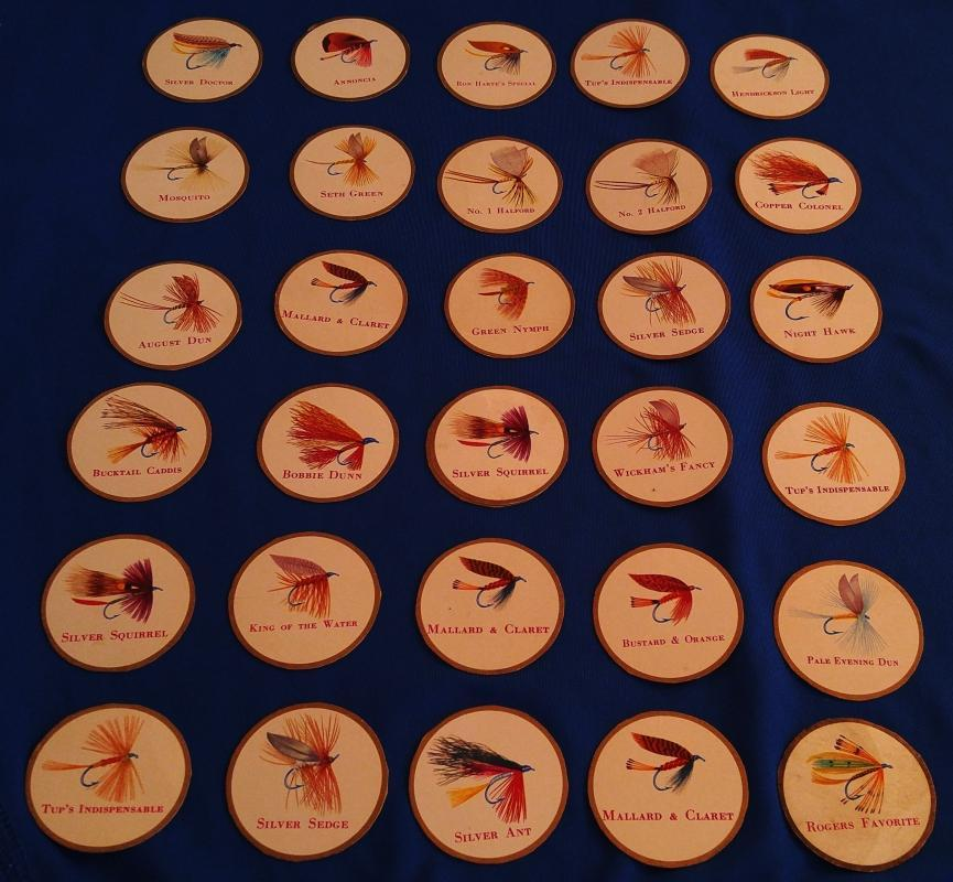 RARE FIND ! 1950's 60's _43 pcs LOT SPORTSMAN CIGARETTE flies Fly Fishing _off cig panels. Mount in your choice of Picture Frame. Great Fishing Decor
