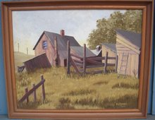 ORIGINAL ART_old Canada Country Original Oil Painting Circa 1960 Signed R.G. POWELL in Excellent Condition. Canadian Farm Scene. FREE SHIPPING on this artwork Limited Time