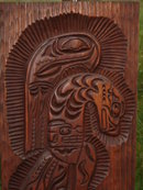 Carving UnderValued See Picture for Comparison!!! North American Native Art  Northwest Coast SALISH  ~~ LARGE 28 INCHES HIGH ~~ Heavy wooden Plaque Hand Carved by Master Carver James John Coast Salish Son of Famous Jimmy John Works of Art in Museums