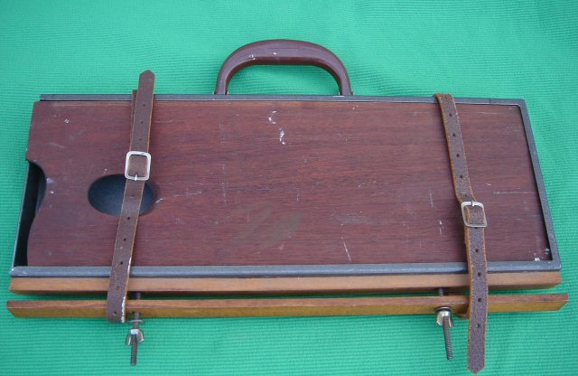 Vintage ARTIST TOOL BOX  16 Inches Wide /Pallet /Easel. Very Strong  Steel Box  / BAKELITE HANDLE /  Unusual Find Sturdy  Construction Solid Mahogany Pallet