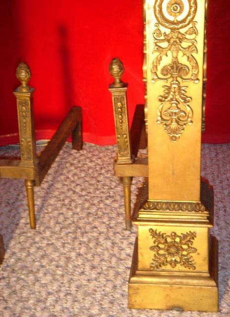 Antique__ LARGE 30 INCHES TALL__ ~~~ SOLID BRASS Ornate Andirons __BRITISH COLUMBIA , CANADA __Nanaimo Heritage Home Excellent Condition_NO SALES TAXES