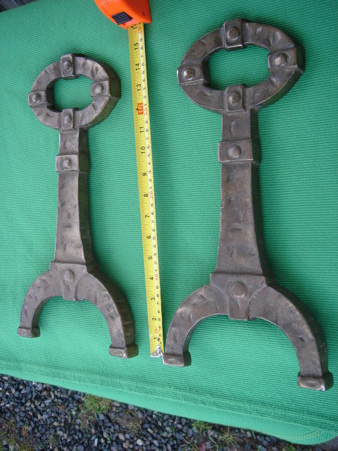 MISSION ___ARTS-N-CRAFTS BRONZE Style finish on Cast Iron STAMPED with Makers Mark Andirons Fireplace Decor