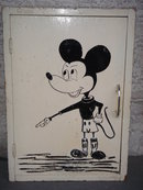 OLD MICKEY MOUSE CABINET Early 40's Old Country Bathroom Cabinet Hand Painted Artwork MICKEY MOUSE Solid Wood Folk Art
