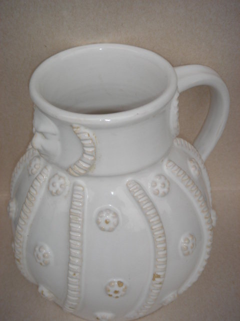 7 1/2 Inches Tall __Early Faience ART Pottery Jug  ~~~ RENAISSANCE Man  Image ~~~ Possibly Made in South of France region ~~ HAND THROWN POTTERY_NO SALES TAXES to USA