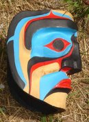 SIGNED _VINTAGE North American 1st Nations NORTHWEST COAST SALISH Hand-Carved MASK signed: Stan Good ~ LARGE ~ 19 Inch Circumference size  Examined by Jackson Robertson Well Known Carver