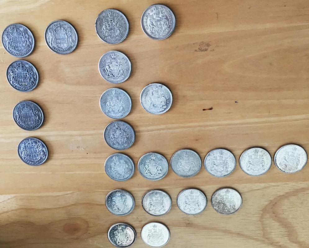 80% SOLID SILVER _ Lot of 23 CANADA half dollars _50 Cent pieces_ Condition FINE to Extra Fine_ YEARS 1942- 1966_ mixed_ First Time on Market