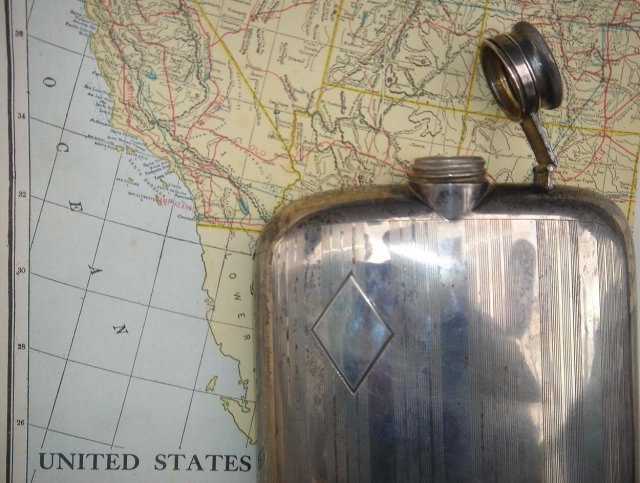 GIFT FOR THE MAN...Art Deco_. Massive STERLING SILVER PICNIC FLASK _  298 GRAMS _ Made in the USA by EAM In Beautiful Condition . Clean Inside with Good Cork inset in Cap. 30's Era