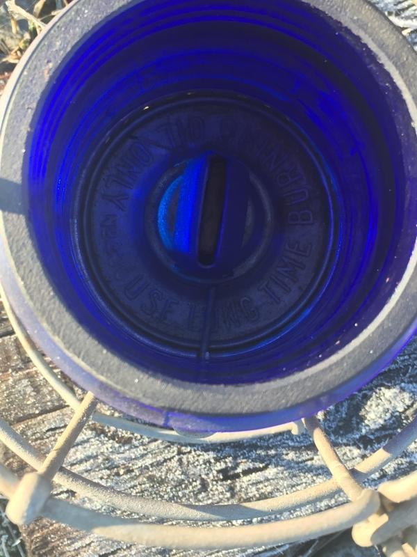 Original RAILWAY LANTERN RARE FIND with COBALT BLUE LENS, NO DAMAGE. Stamped C.N.R.