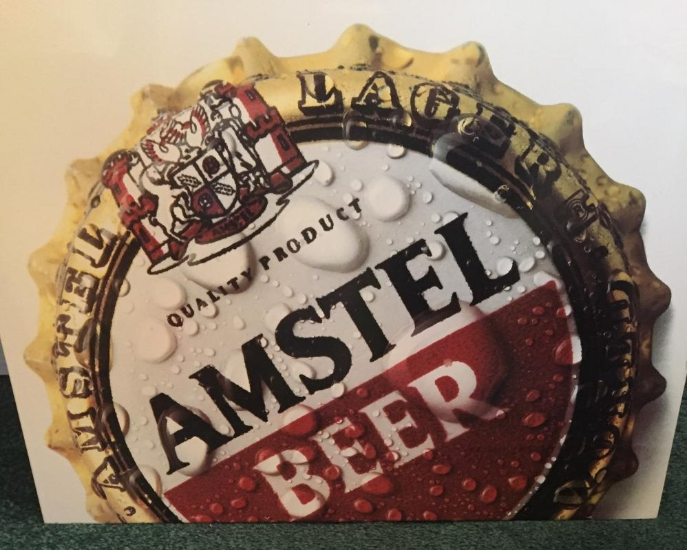 Hard to Find vintage AMSTEL  Beer Cap Sign Note: image of beer cap with droplets of water is the Very Hard to Find image plus with slogan during era _Metal SIGN : AMSTEL LAGER __Mancave artifact _ 23