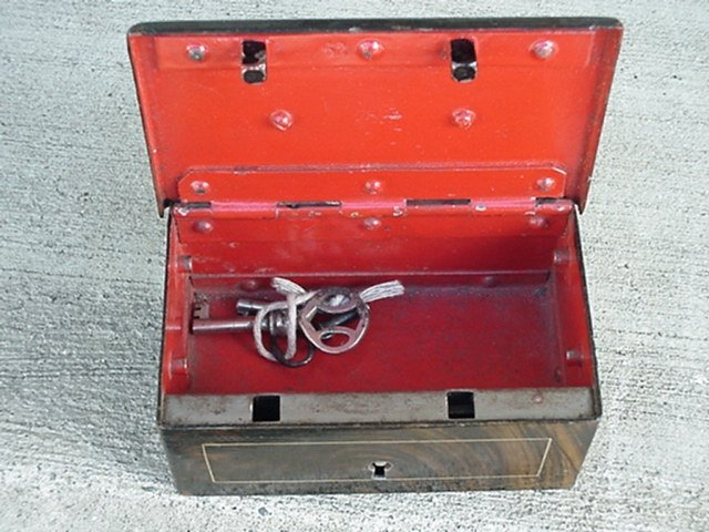 Nautical ANTIQUE Ship's Strong Box  WITH KEY ~ from the Era of the Titanic. Fantastic  HEAVY GAUGE SOLID STEEL Construction in this Little Strong Box with Original Key. RARE FIND for Collector.